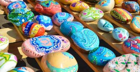 Langley Primary School paints cultural rocks with Art at the Heart CIC