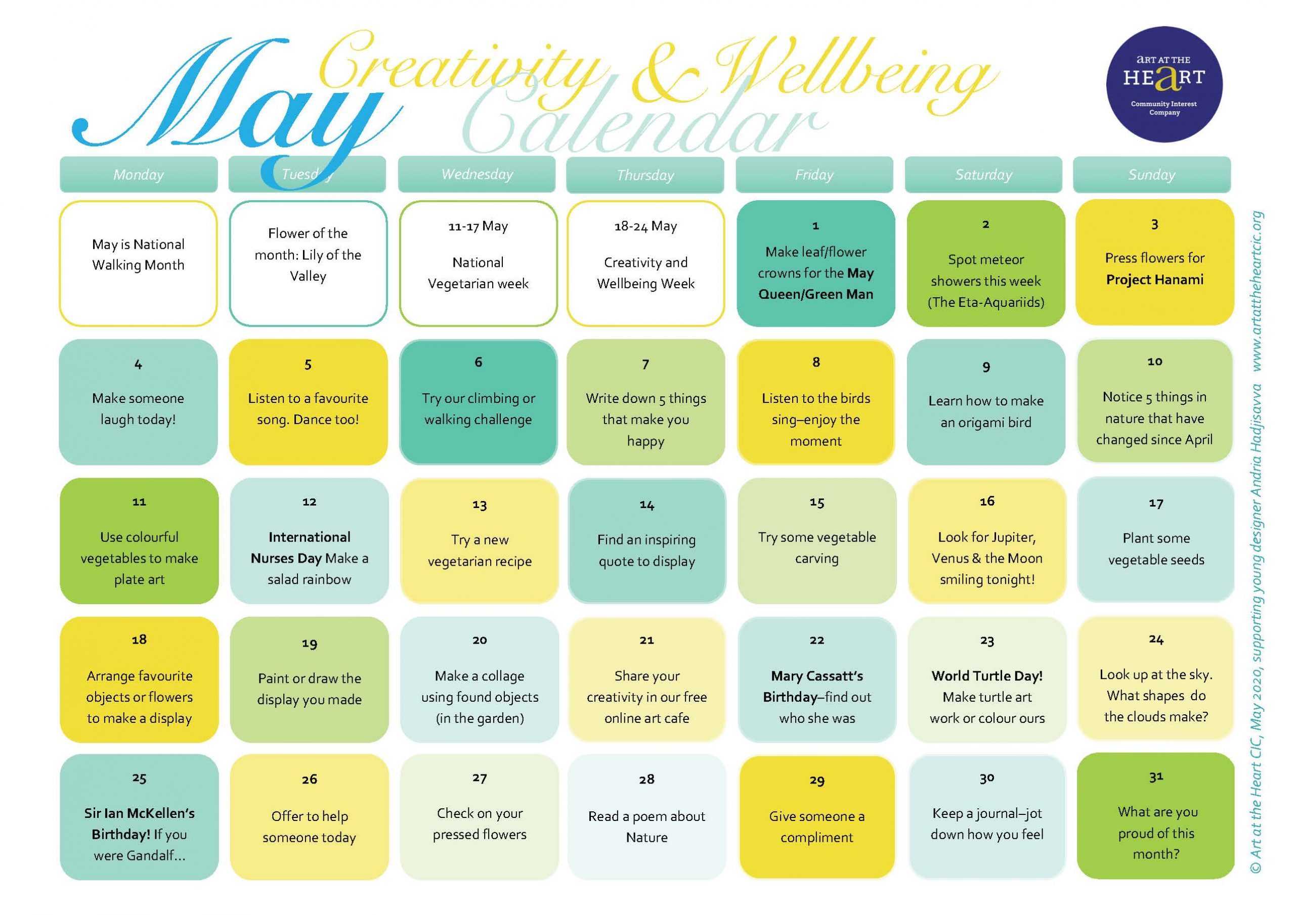 Daily Creativity and Wellbeing Activities for May