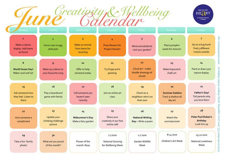 June Wellbeing and Creativity Calendar