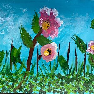 Spring blossom painting for Project Hanami by Art Club member
