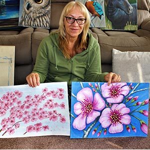 Cherry blossom paintings for Project Hanami