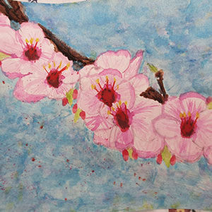 Painting of a cherry blossom branch