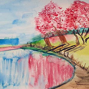 cherry trees reflected in a lake, painting for Project Hanami