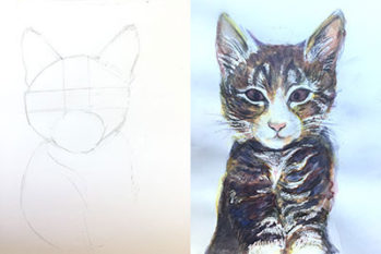 Art work from Art at the Heart CIC's Cat drawing Workshop