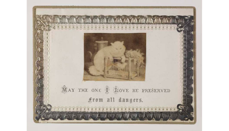 hand-made Victorian Valentine's Day card featuring a cat