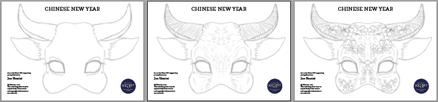 Chinese Year of the Ox Mask templates