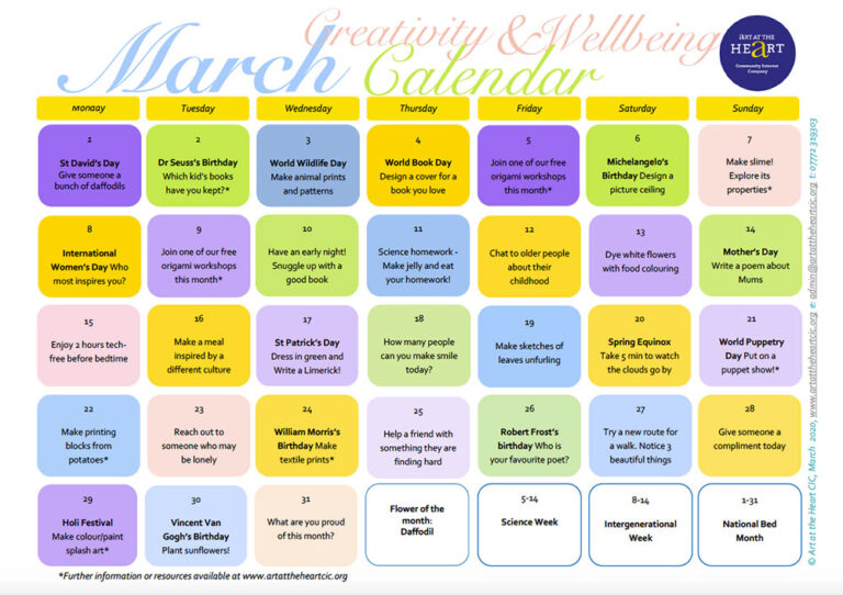 March 2021 Everyday Creativity and Wellbeing Calendar