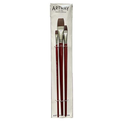 Picture of a pack of 3 Long-handled Nylon hair brushes by Artway