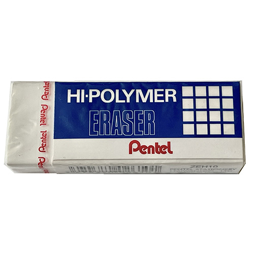 picture of a plastic eraser in paper casing