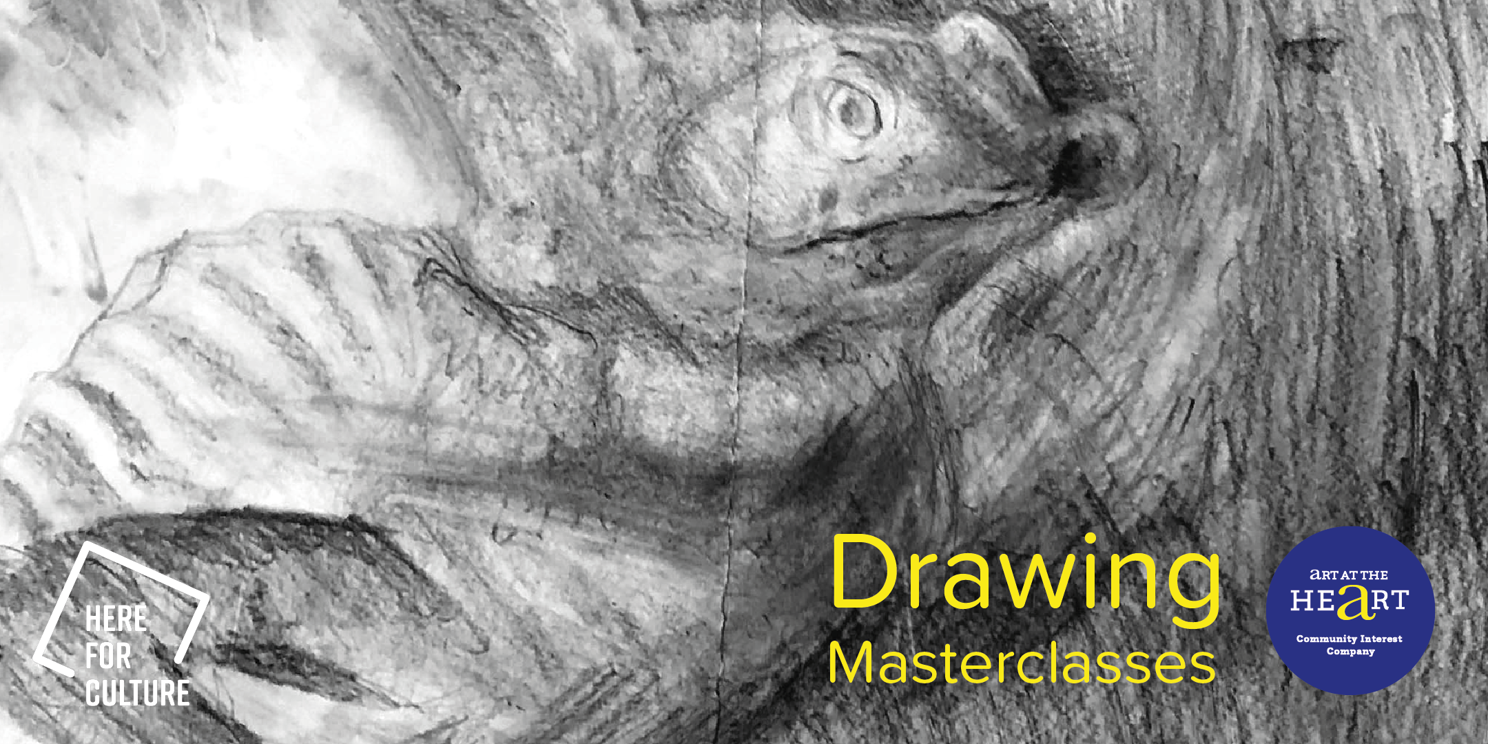 Drawing of a lizard for stage 2 of drawing masterclasses with Art at the Heart CIC