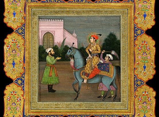 Indian miniature painting from the Minassian collection, showing a nobleman riding on a horse