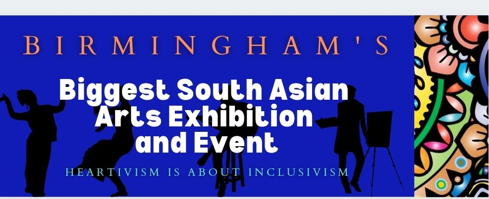 A banner advertising the South Asian Arts Exhibition and Event at the Birmingham Contemporary Art Gallery