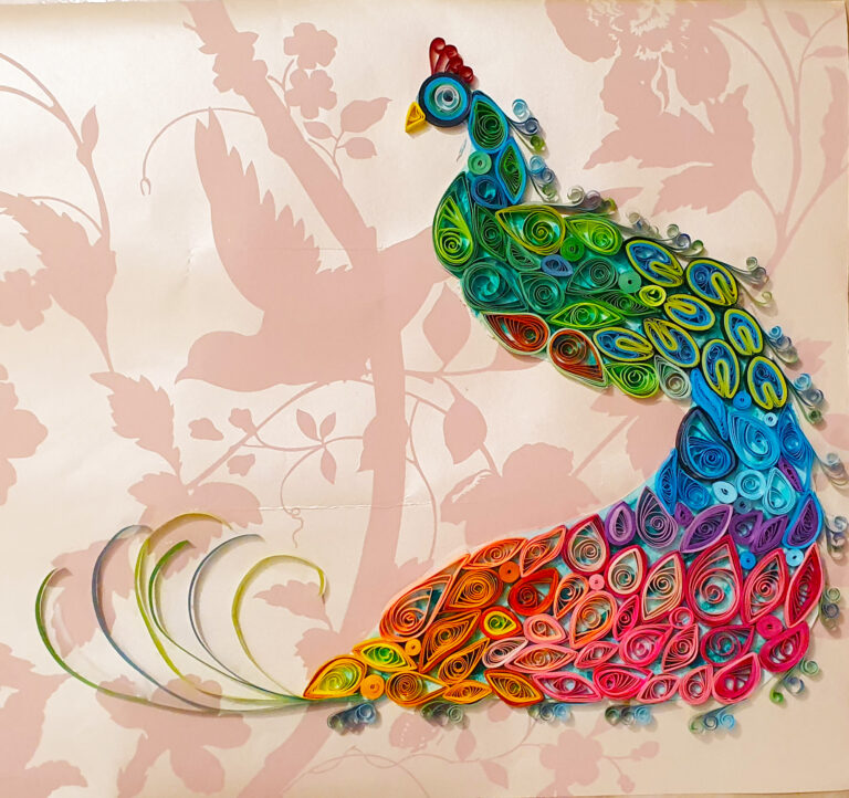 Peacock made from paper scrolls by Usha