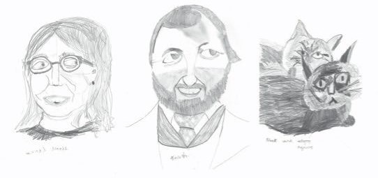 Drawings of Woody's family members and two cats